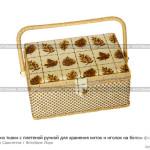 № 5868686: Шкатулка из ткани с плетеной ручкой для хранения ниток и иголок на белом фоне